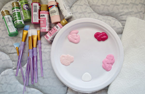 supplies to paint flowers