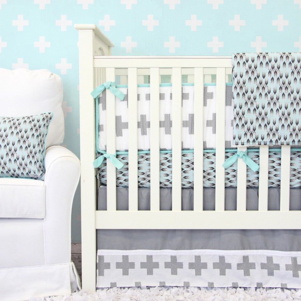 Gray Geometric Crib Bedding