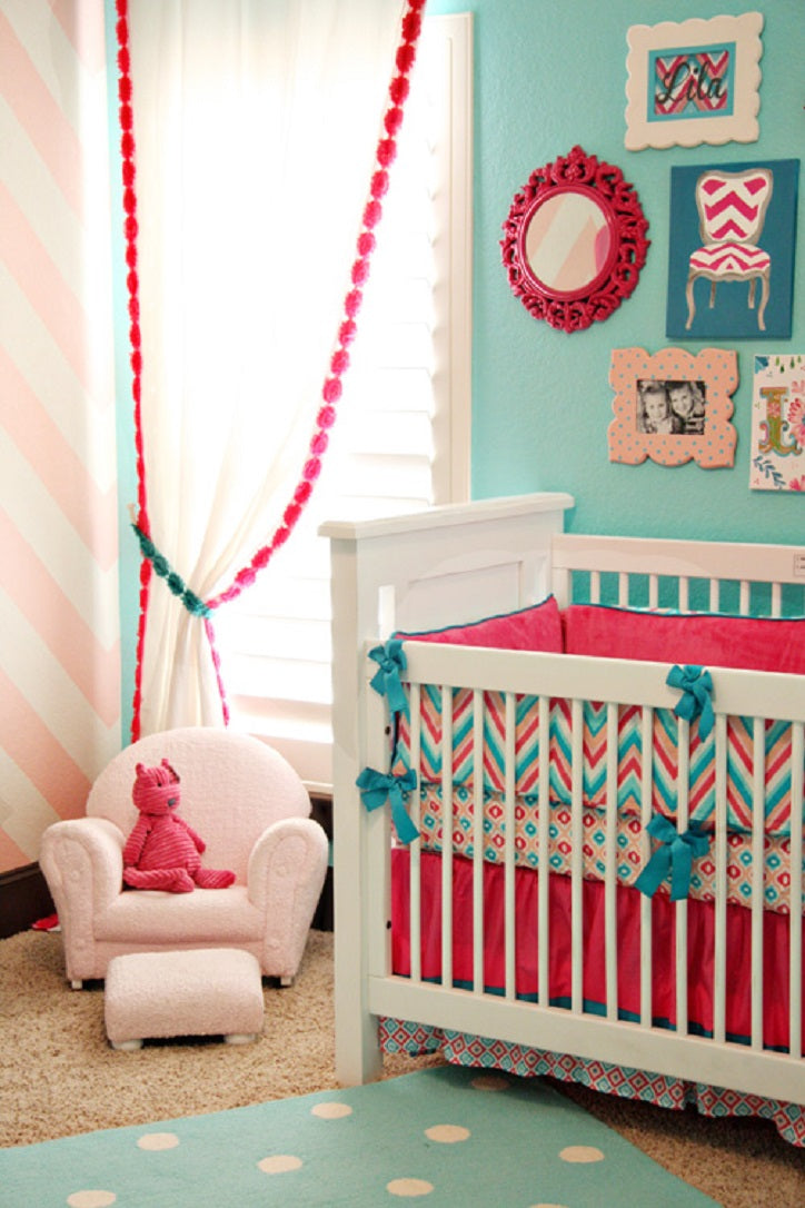 Pink and Turquoise Bold Crib Bedding