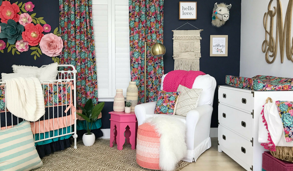 Bohemian styled navy blue with hot pink and coral accents baby girl nursery design inspiration