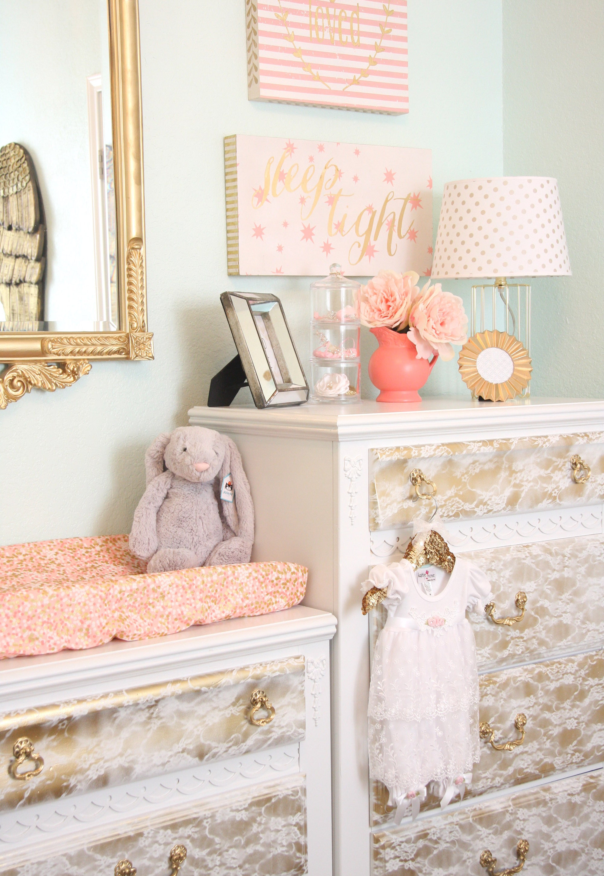 coral and gold changing station with diy vintage lace painted dressers