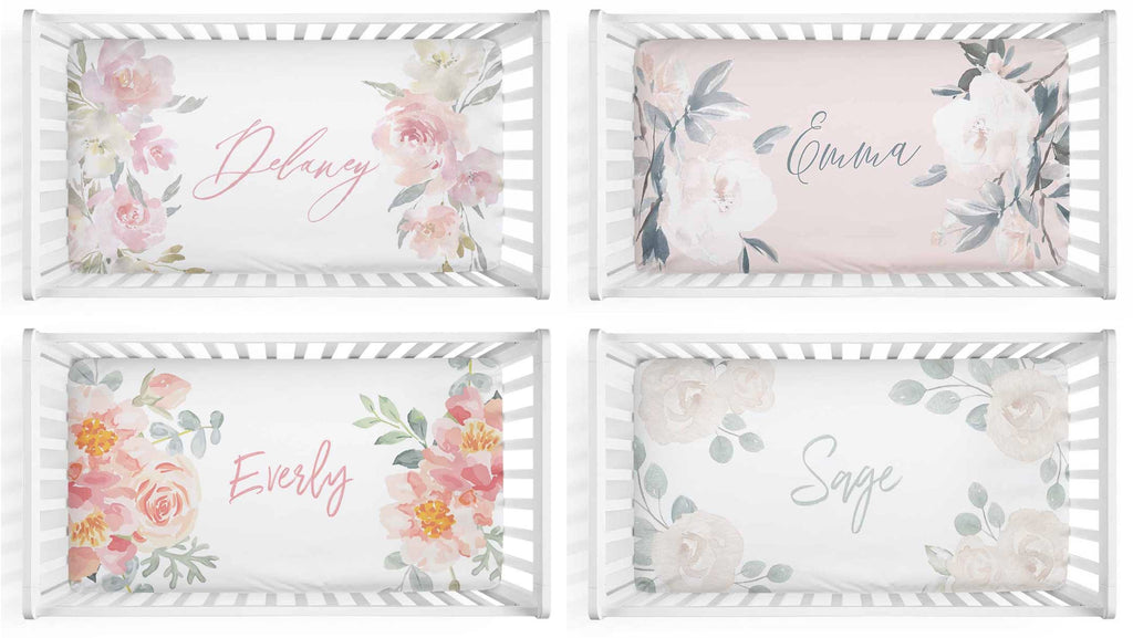 floral personalized crib sheets