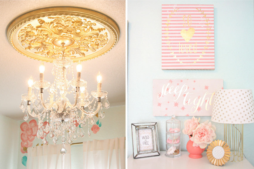 gold chandelier molding and coral and gold wall art
