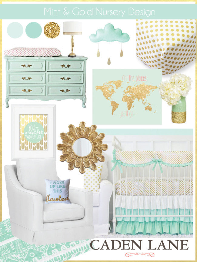 Mint and Gold Nursery Design by Caden Lane