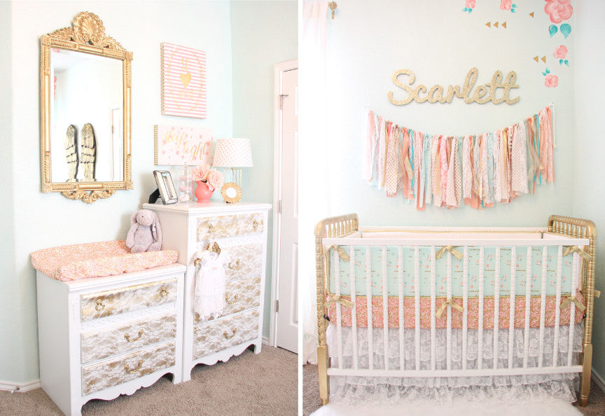 coral, mint and gold vintage nursery - changing station and crib view