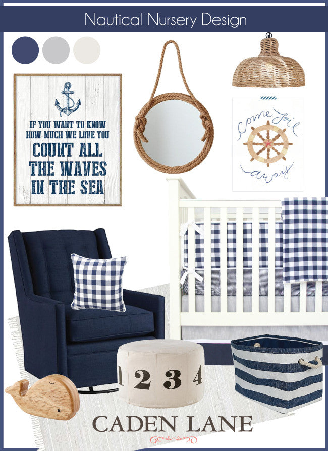 Nautical Navy Nursery Inspiration Board