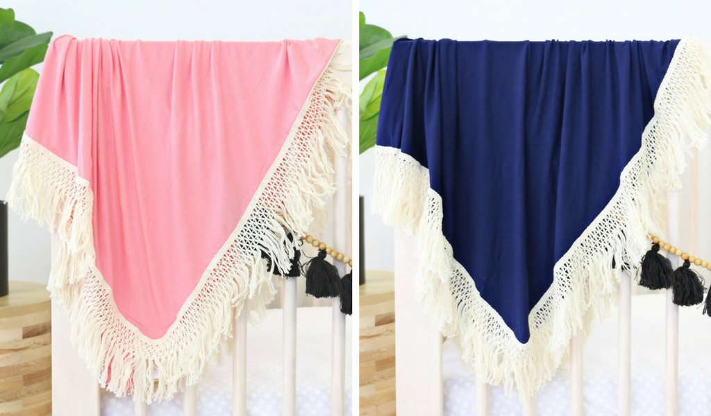 pink or navy blue fringe tassel baby blankets for a bohemian vibe