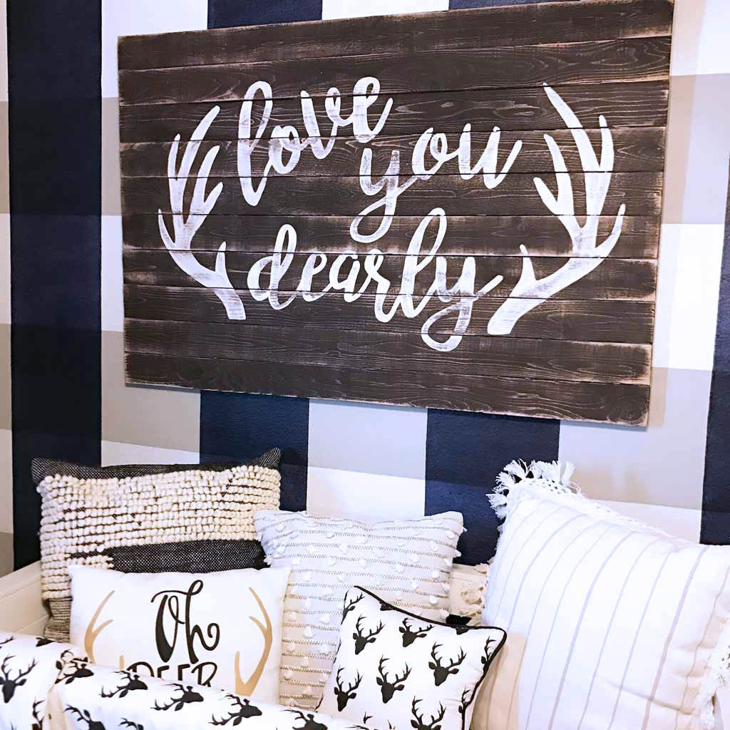 Love You Dearly Rustic Wood Panel Sign Above Crib