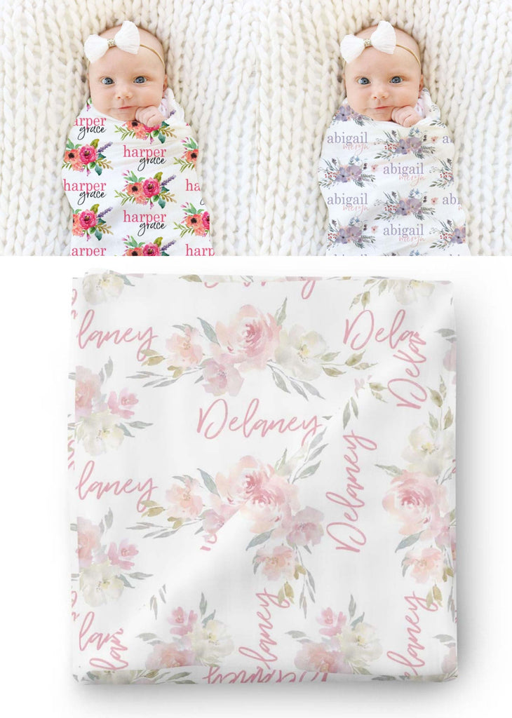 floral baby name swaddle blankets