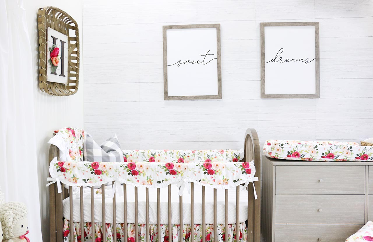 Floral Farmhouse Girl Nursery with Faux Whitewashed Wood Accent Walls