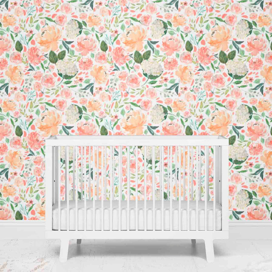 Coral and Peach Floral Nursery Removable Wallpaper