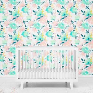 Isla's Pastel Blush and Mint Removable Nursery Wallpaper
