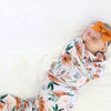 rust burnt orange floral swaddle