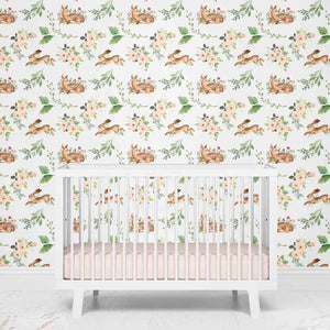 Girly Woodland Animal Nursery Wallpaper
