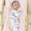 blush and sage floral newborn swaddle