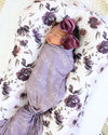 Personalized Dusty Purple Baby Name Swaddle Blanket - Block & Script