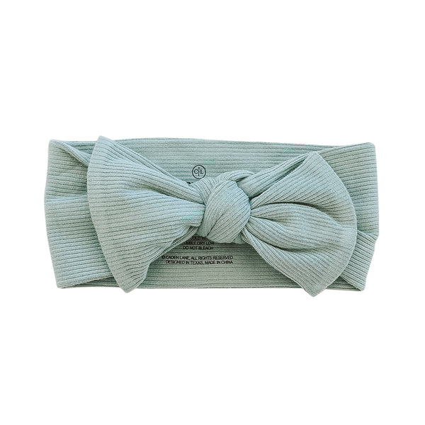 vintage green ribbed newborn bow headwrap