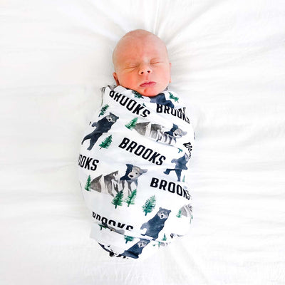 bear and mountain personalized baby swaddle