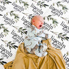 Olive Leaf Personalized Baby Name Swaddle Blanket