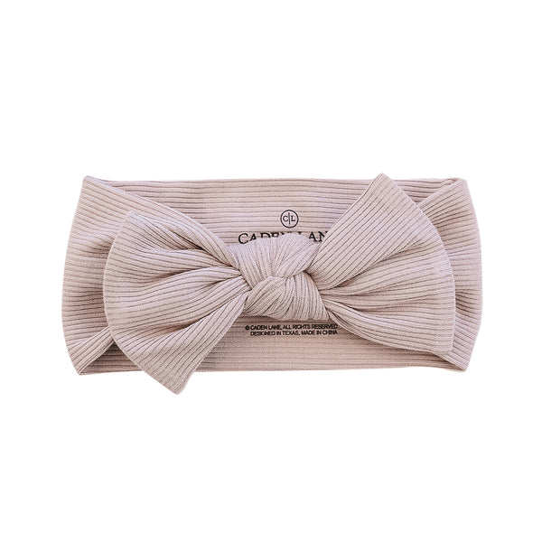 taupe ribbed baby bow headwrap