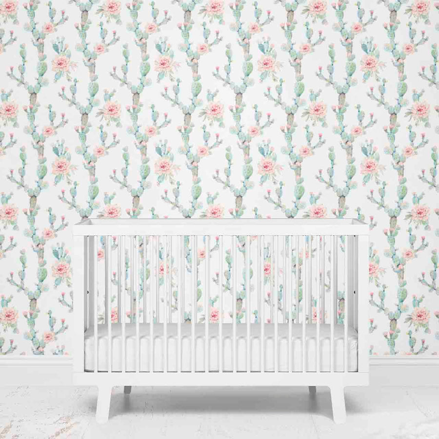 Girl Cactus Baby Nursery Removable Wallpaper