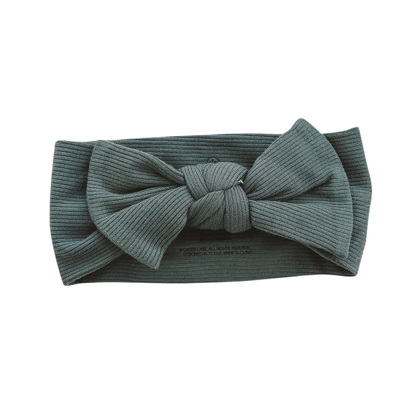 Forest Green Ribbed Bamboo Large Bow Headwrap*