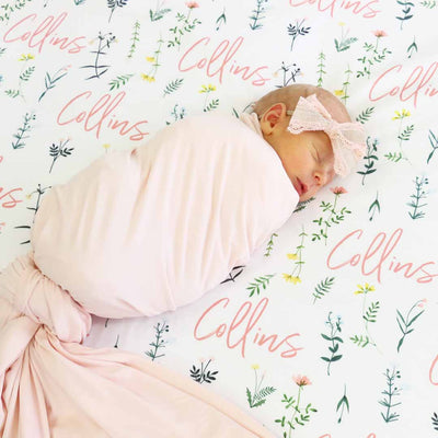 Lilly's Wildflower Leaves Personalized Baby Name Swaddle Blanket