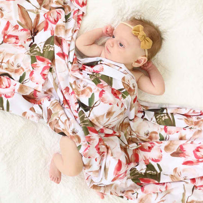 rust vintage floral swaddle for newborn
