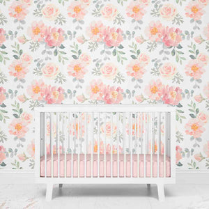 Dusty Rose Floral Nursery Removable Wallpaper
