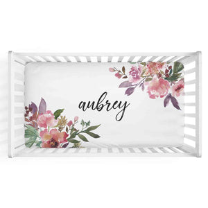 Aubrey's Burgundy & Blush Floral Large Personalized Name Crib Sheet