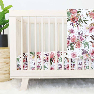 Aubrey's Blush and Burgundy Floral Crib Bedding