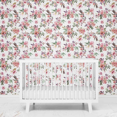 Burgundy Floral Removable Nursery Wallpaper behind the crib