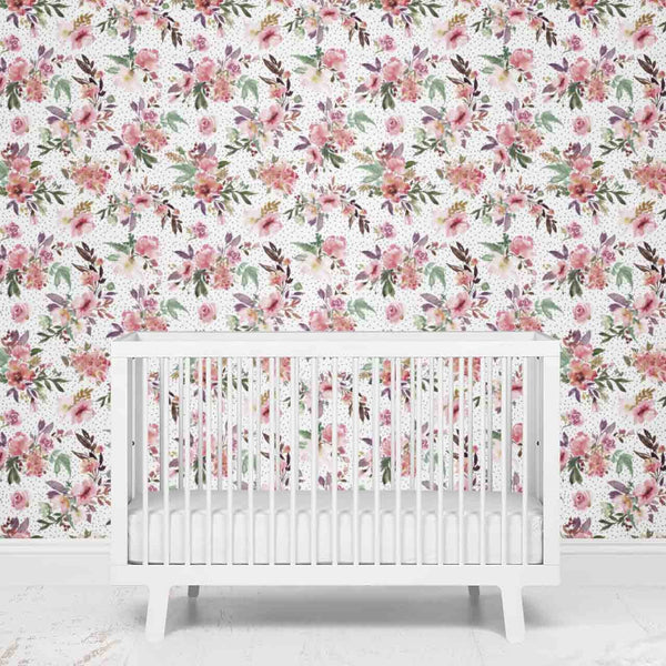 Aubrey's Burgundy & Blush Floral Removable Nursery Wallpaper
