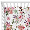 Burgundy and Blush Watercolor Floral Fitted Crib Sheet