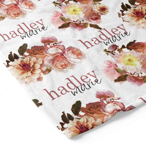 Autumn's Rustic Floral Personalized Toddler Blanket
