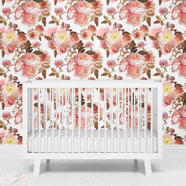 realistic floral removeable wallpaper for nursery