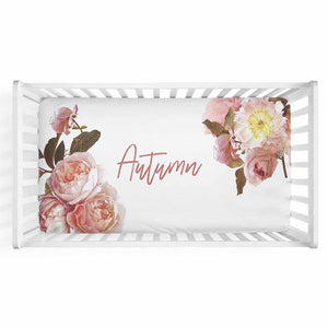 Autumn's Rustic Real Floral Personalized Crib Sheet for your earth tone nursery