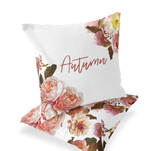 Autumn's Rustic Real Floral Custom Name Throw Pillow