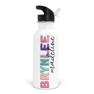 Bright Pinks Girls Custom Name Water Bottle