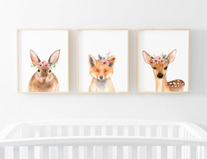 watercolor animal with flower crown nursery art prints