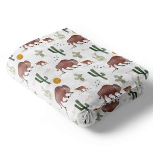 bison and cactus print stroller blanket for baby