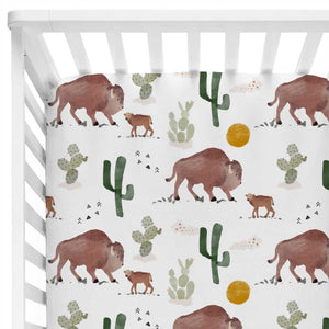 buffalo and cactus print crib sheet