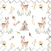 Blakely boho deer and tee pee fabric swatch for your girl woodland nursery