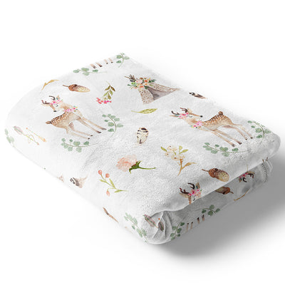 blakely deer and tee pee baby girl woodland blanket