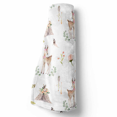 Girl Woodland Baby Blanket with Baby Deer and Tee Pees