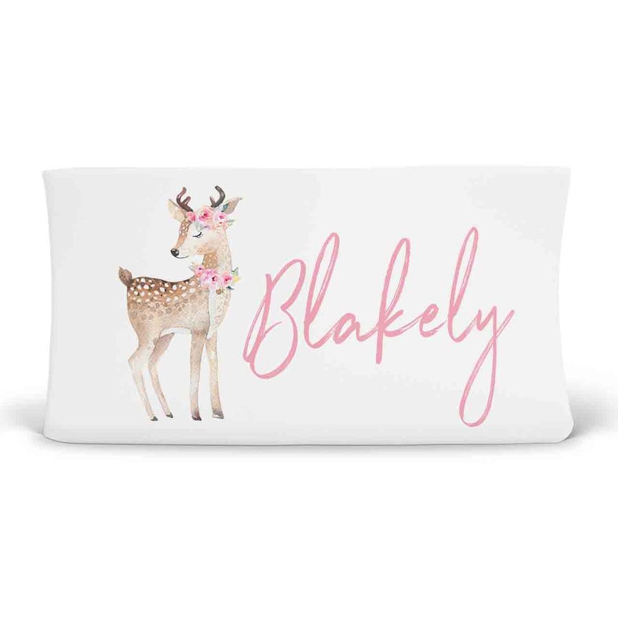 Blakely's Blush Woodland Deer Personalized Fitted Changing Pad Cover