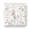 deer and teepee baby name swaddle