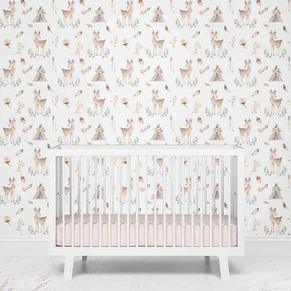 Girly Woodland Deer Removable Nursery Wallpaper