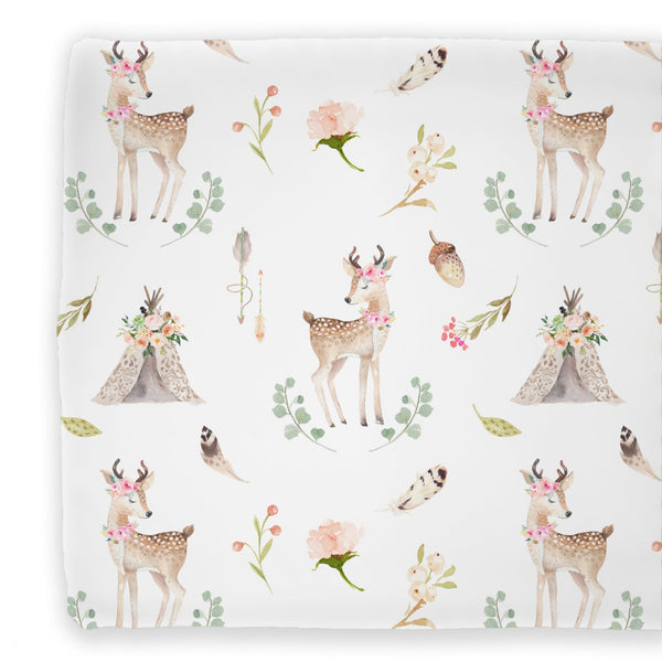 Baby Girl Woodland & Boho Deer themed Changing Pad Cover