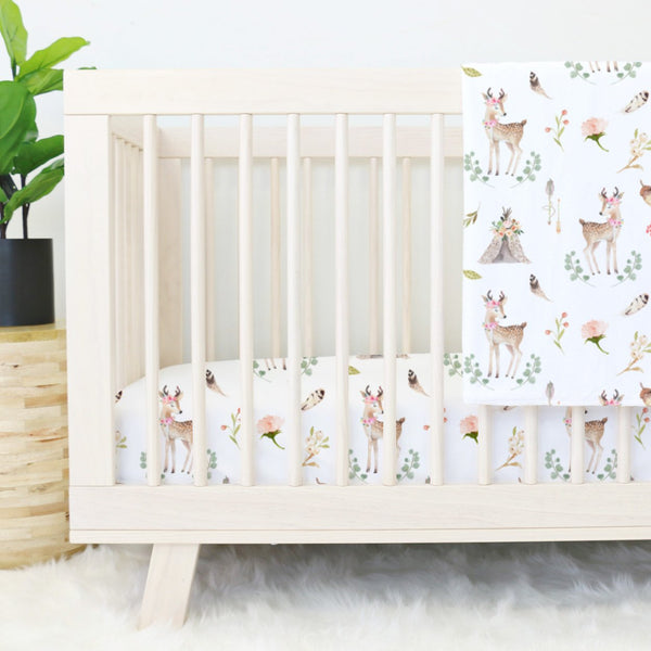 Blakely's Boho Woodland Fawn & Teepee Girl Crib Bedding Collection